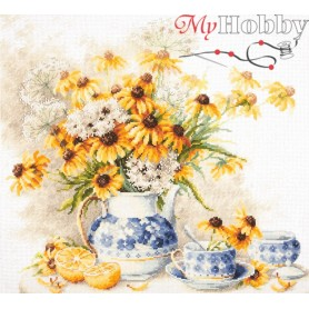 Complete Counted Cross Stitch Kit 'Flower Tea' 40 x 35cm - MAGIC NEEDLE art: 50-08