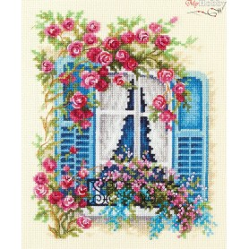 Complete Counted Cross Stitch Kit 'Blossoming Window' 16 x 21cm - MAGIC NEEDLE art: 74-01