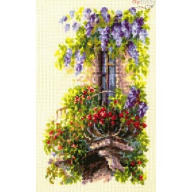 Complete Counted Cross Stitch Kit 'Blossoming Balcony' 15 x 23cm - MAGIC NEEDLE art: 74-05