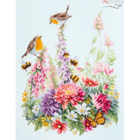 Complete Counted Cross Stitch Kit 'Singing robins' 31 x 40cm - MAGIC NEEDLE art: 130-032