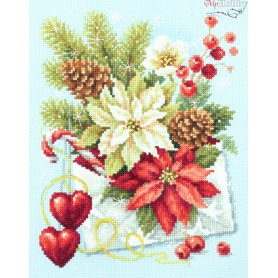 Complete Counted Cross Stitch Kit 'Merry Christmas!' 17 x 22cm - MAGIC NEEDLE art: 100-241