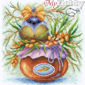 Diamond Embroidery Painting Kit Sea buckthorn berries Collection D'Art - size 38x38