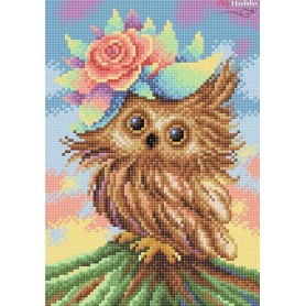 Diamond Embroidery Painting Kit Charming owl Collection D'Art - size 19x27