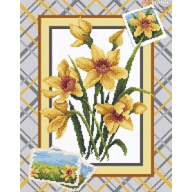 Diamond Embroidery Painting Kit Wonderful narcissus Collection D'Art - size 38x48