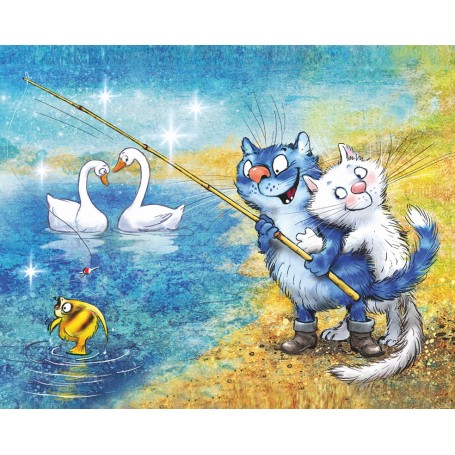 Diamond embroidery and mosaic paintings 'Cats - Fishing Time' Size 40x50cm DIY art. by Tsvetnoy - LG278e