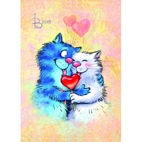 Diamond embroidery and mosaic paintings 'Cats - Sharing happiness' Size 40x50cm DIY art. by Tsvetnoy - LG271e