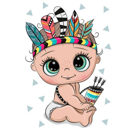Diamond embroidery and mosaic paintings 'Little Baby - The Indian' Size 20x30cm DIY art. by Tsvetnoy - LC043e