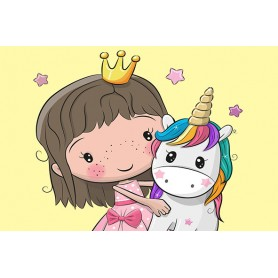 Paint by numbers 'Princess with a Small Unicorn' Size 40x50cm DIY art. by Tsvetnoy - MC1103e