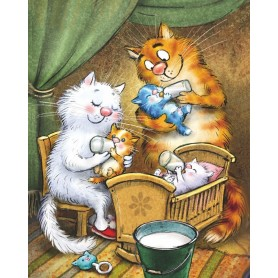 Paint by numbers 'Cats - Happy Family' Size 40x50cm DIY art. by Tsvetnoy - ME1135e