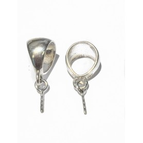 Hanging hooks, silver 925 Ag, length: 19mm, width: 8mm, solid silver, 1 pc