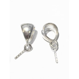 Pendant hooks, silver 925 Ag, length: 12mm, width: 7mm, solid silver, 1pc