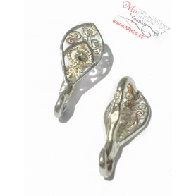 "Pendant hooks, silver ""AG925"", length: 15mm, width: 6mm, solid silver, 1pc"