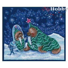 "Cross-stitch kit ""New Year on the ice floe"" size (cm) 27.5x23.5 - RTO M809"