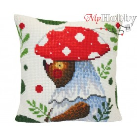 Cross Stitch Cushion Kit - Bear walking in the forest, size (cm) 40x40 - D'Art 5419