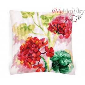 Cross Stitch Cushion Kit - Red geranium, size (cm) 40x40 - D'Art 5418
