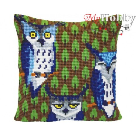 Cross Stitch Cushion Kit - Owls in the forest, size (cm) 40x40 - D'Art 5417