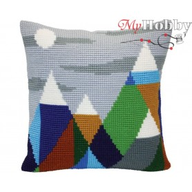 Cross Stitch Cushion Kit - Mountaintops, size (cm) 40x40 - D'Art 5416