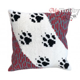 Cross Stitch Cushion Kit - Wolf traces, size (cm) 40x40 - D'Art 5411