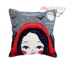 Cross Stitch Cushion Kit - Red Ridinghood, size (cm) 40x40 - D'Art 5408