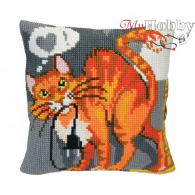 Cross Stitch Cushion Kit - Sly cat, size (cm) 40x40 - D'Art 5406