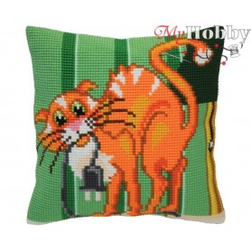 Cross Stitch Cushion Kit - Cat jokes, size (cm) 40x40 - D'Art 5405