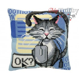 Cross Stitch Cushion Kit - Cat and mouse, size (cm) 40x40 - D'Art 5404