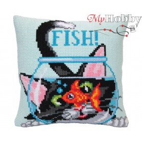Cross Stitch Cushion Kit - Catch a fish, size (cm) 40x40 - D'Art 5403