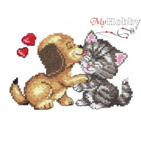 Complete Counted Cross Stitch Kit 'I Love You' 15 x 10cm - MAGIC NEEDLE art: 16-08