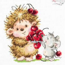 Complete Counted Cross Stitch Kit 'Hedgehog and mouse' 15 x 14cm - MAGIC NEEDLE art: 19-10