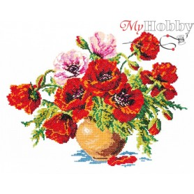Complete Counted Cross Stitch Kit 'Poppies' 34 x 25cm - MAGIC NEEDLE art: 40-06