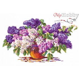 Complete Counted Cross Stitch Kit 'Lilac Bouquet' 40 x 23cm - MAGIC NEEDLE art: 40-28