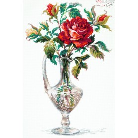 Complete Counted Cross Stitch Kit 'Red Rose' 26 x 40cm - MAGIC NEEDLE art: 40-65