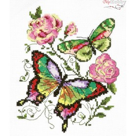Complete Counted Cross Stitch Kit 'Butterflies and Roses' 14 x 18cm - MAGIC NEEDLE art: 42-04