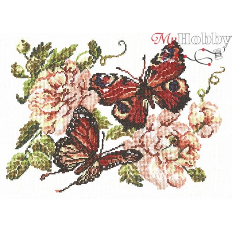 Complete Counted Cross Stitch Kit 'Peonies and butterflies' 30 x 22cm - MAGIC NEEDLE art: 42-06
