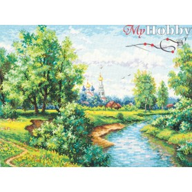 Complete Counted Cross Stitch Kit 'Countryside' 41 x 30cm - MAGIC NEEDLE art: 43-09