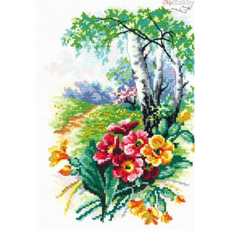 Complete Counted Cross Stitch Kit 'May Blossom' 17 x 25cm - MAGIC NEEDLE art: 43-11