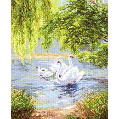 Complete Counted Cross Stitch Kit 'Swans' 26 x 33cm - MAGIC NEEDLE art: 44-02