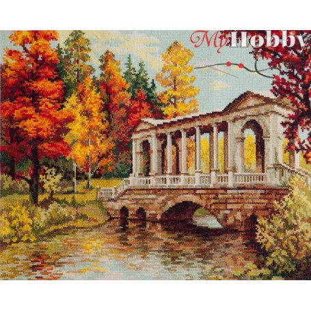 Complete Counted Cross Stitch Kit 'Scarlet and gold' 40 x 30cm - MAGIC NEEDLE art: 45-04