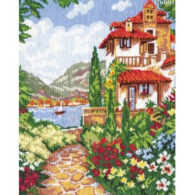 Complete Counted Cross Stitch Kit 'Villa by the sea' 24 x 31cm - MAGIC NEEDLE art: 48-01