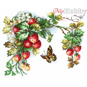 Complete Counted Cross Stitch Kit 'Sprig of strawberry' 25 x 19cm - MAGIC NEEDLE art: 55-10