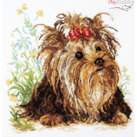 Complete Counted Cross Stitch Kit 'Yorkshire Terrier' 26 x 26cm - MAGIC NEEDLE art: 59-13
