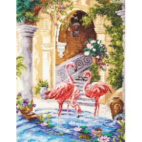 Complete Counted Cross Stitch Kit 'Pink flamingos' 30 x 39cm - MAGIC NEEDLE art: 64-02