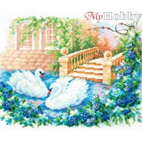 Complete Counted Cross Stitch Kit 'Swan faithfulness' 26 x 21cm - MAGIC NEEDLE art: 64-07