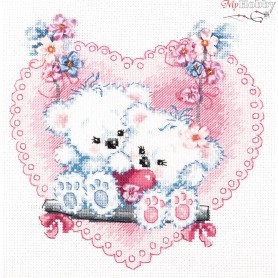 Complete Counted Cross Stitch Kit 'Happy Love' 18 x 18cm - MAGIC NEEDLE art: 80-06