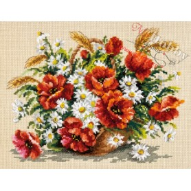 Complete Counted Cross Stitch Kit 'Bouquet of Wildflowers' 27 x 21cm - MAGIC NEEDLE art: 40-67