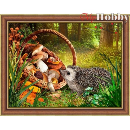 """Diamond Embroidery Painting Kit'Hedgehog in the forest"""", Article: AM1760, size: 40x30 - Mosfa"""