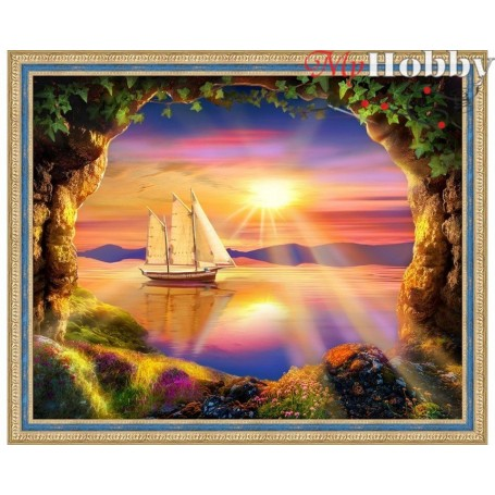 """Diamond Embroidery Painting Kit'Ship at Sunset"""", Article: AM1765, size: 50x40 - Mosfa"""