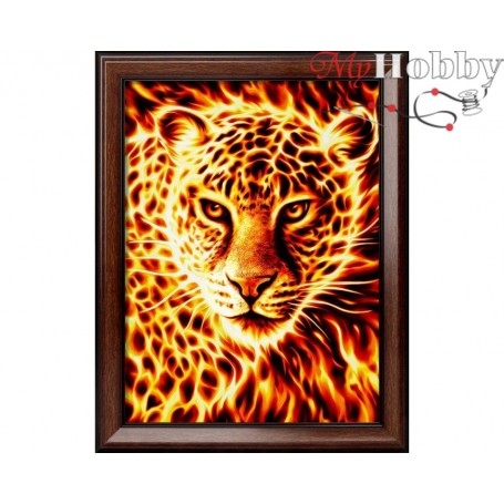 """Diamond Embroidery Painting Kit'Fire Leopard"""", Article: AM1849, size: 30x40 - Mosfa"""