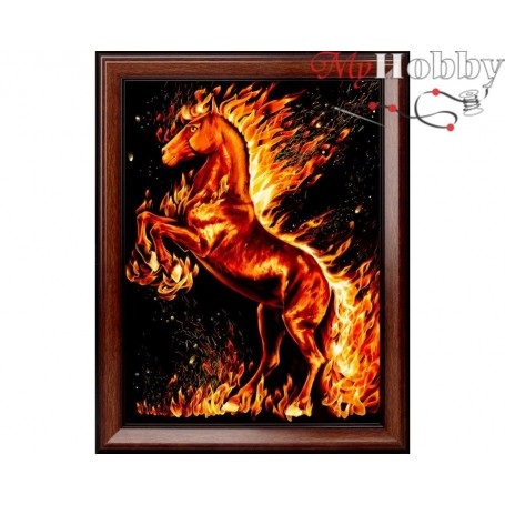 """Diamond Embroidery Painting Kit'Fire Horse"""", Article: AM1850, size: 30x40 - Mosfa"""