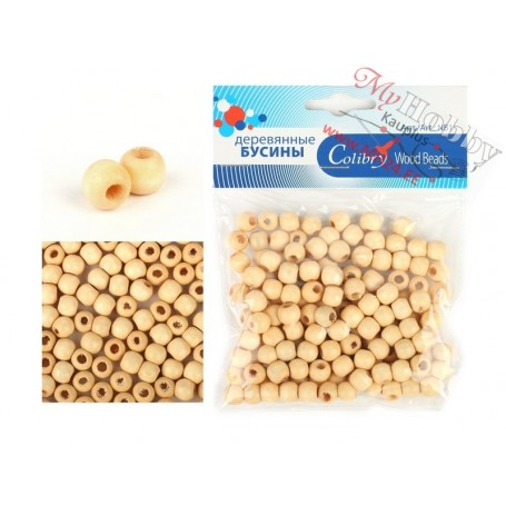 Wooden Beads, D: 8 mm, hole size 2 mm, 33g, approx. 150 pc